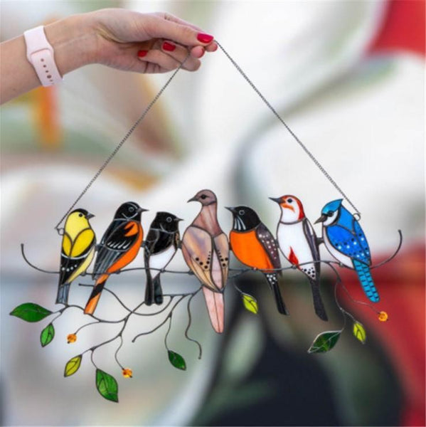 Father's Day Gift Birds Stained-Glass Window Hangings Multicolor Suncatcher Birds Hummingbird Gift
