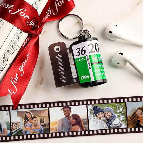 Birthday Gifts Spotify Code Scannable Custom Camera Roll Keychain 5-20 Pictures Green Shell