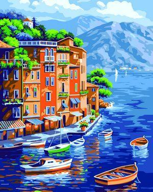 Landscape Paint By Numbers Kits Waterfront Town Paint By Numbers