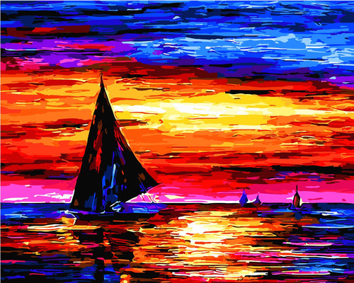 Landscape Paint By Numbers Kits Twilight Sailing Paint By Numbers
