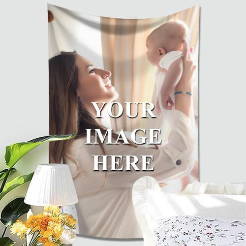 Custom Cute Baby Photo Tapestry Short Plush Wall Decor Hanging Painting Family Gift