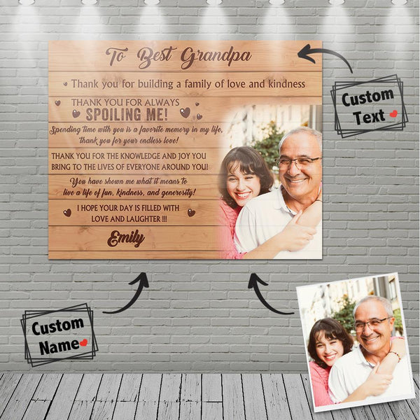 Personalized Gift Custom Family Photo Wall Decor Painting Canvas With Text - To Best Grandpa