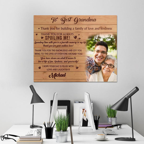 Personalized Gift Custom Family Photo Wall Decor Painting Canvas With Text - To Best Grandma