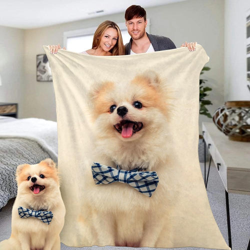 Custom Photo Blanket Personalized Cute Pets Dog Photo Fleece Blanket