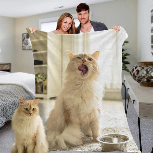 Custom Photo Blanket Personalized Cute Pets Cats Photo Fleece Blanket