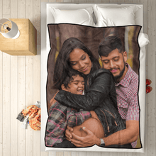 Personalized Fleece Blanket with Photo of Happy Mother and Daughter