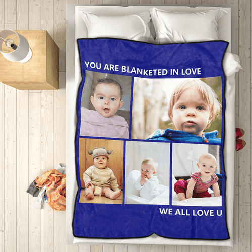 Personalized Baby Fleece Photo Blanket with 5 Photos Festival Gift
