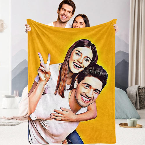 Personalized Gift for Her Custom Couple Photo Painted Art Portrait Fleece Throw Blanket