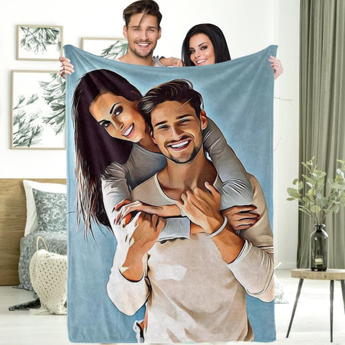 Personalized Gift Custom Couple Photo Painted Art Portrait Fleece Throw Blanket