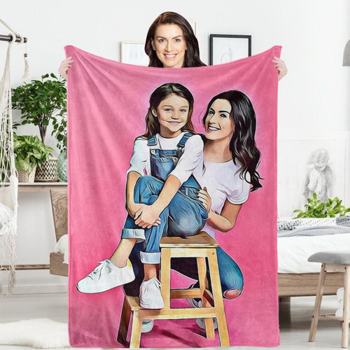 Father's Day Gift Custom Photo Painted Art Portrait Fleece Throw Blanket Personalized Gift