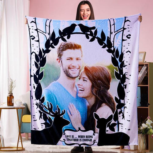 Anniversary Gift Custom Couple Photo Blanket Personalized Text Blankets