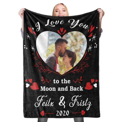 Anniversary Gift Personalized Couple Photo Blanket Custom Text Fleece Blanket