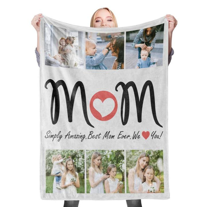 Best Gift for MOM Custom Photo Collage Blanket Mother's Day Blanket Mom Blanket- 6 Photos