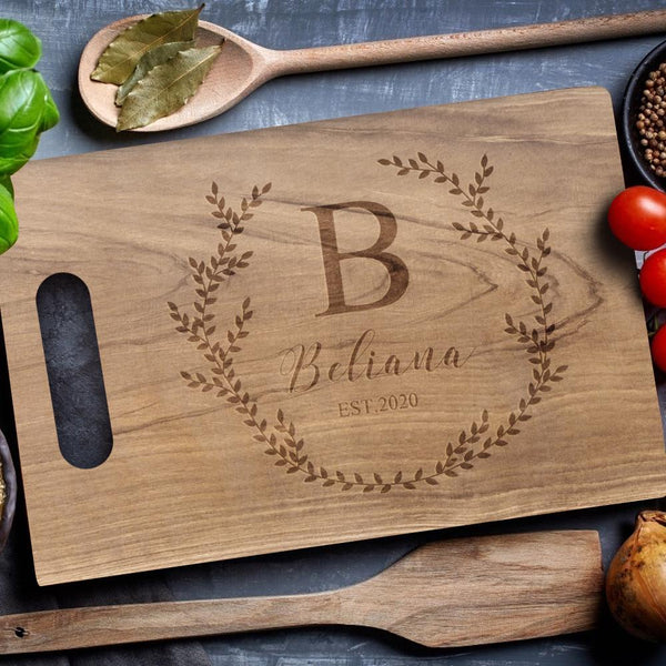 Personalized Cutting Board Custom Text Cutting Board Cheese Board Chopping Board Olive Branch Walnut