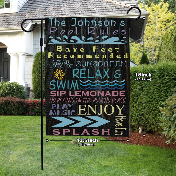 Custom Garden Flag Pool Rules With Your Text Garden Flag (12.5in x 18in)