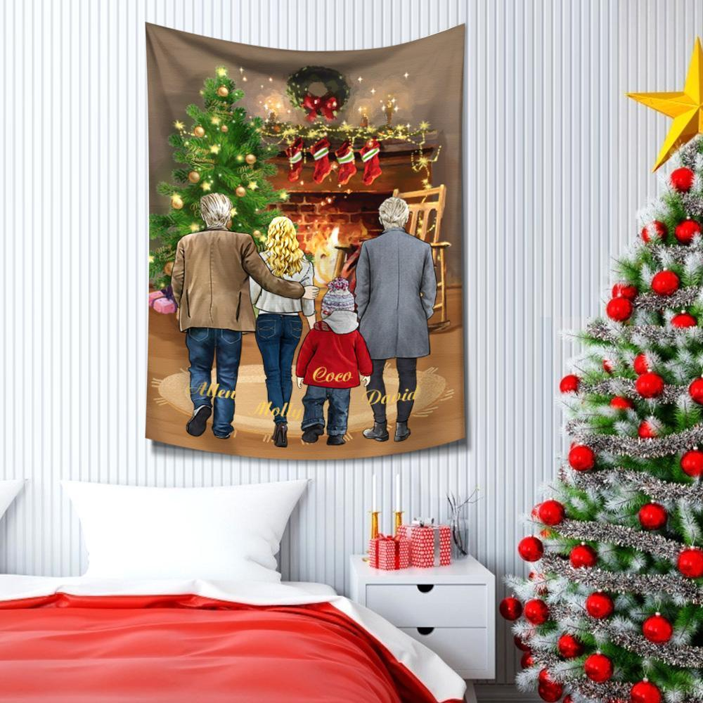 Custom Tapestry Cartoon Tapestry Cartoon Family Portraits  Family Wall Decor