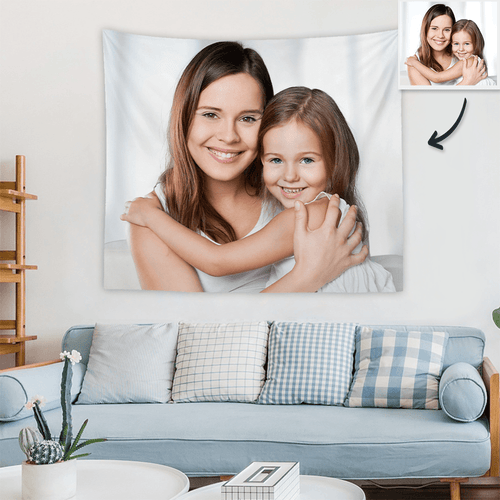 Custom Mother and Daughter Photo Tapestry Short Plush Family Wall Decor Hanging Painting