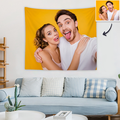Custom Couple Photo Tapestry Short Plush Wall Decor Hanging Painting Gift For Her