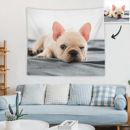 Custom Pet Photo Tapestry Short Plush Wall Decor Hanging Painting