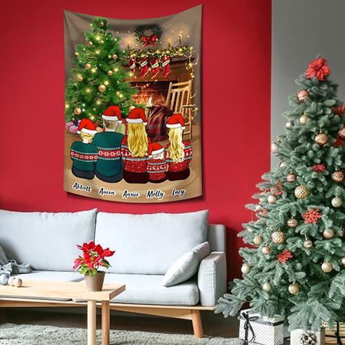 Custom Tapestry Cartoon Tapestry Cartoon Family Portraits  For Family