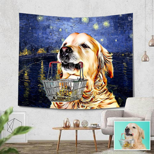 Pet Photo Tapestry Van Gogh Wall Art Home Decor