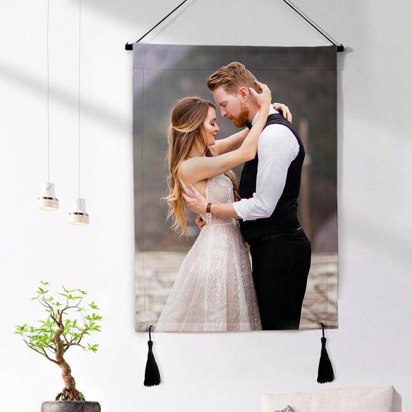 Anniversary Gifts Custom Photo Tapestry - Love Wall Art Home Decor Tapestry