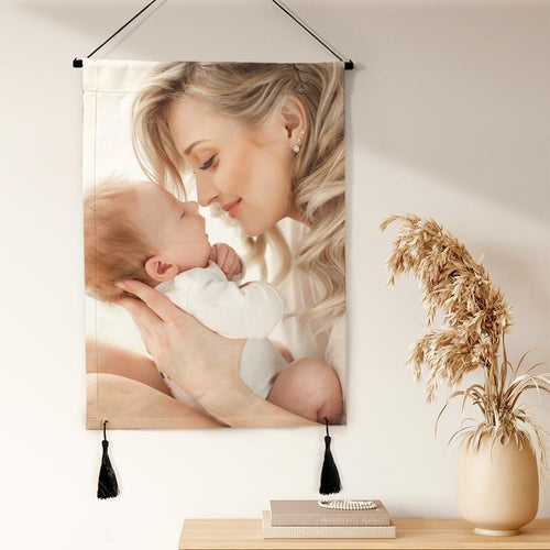 Custom Photo Tapestry Hanging Canvas Prints Gift for Mom