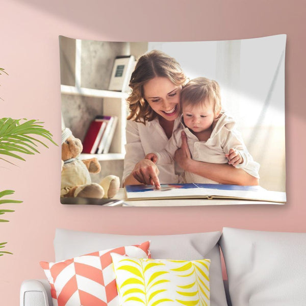 Custom Photo Tapestry Short Plush Wall Decor Hanging Painting Best Mother's Day Gift