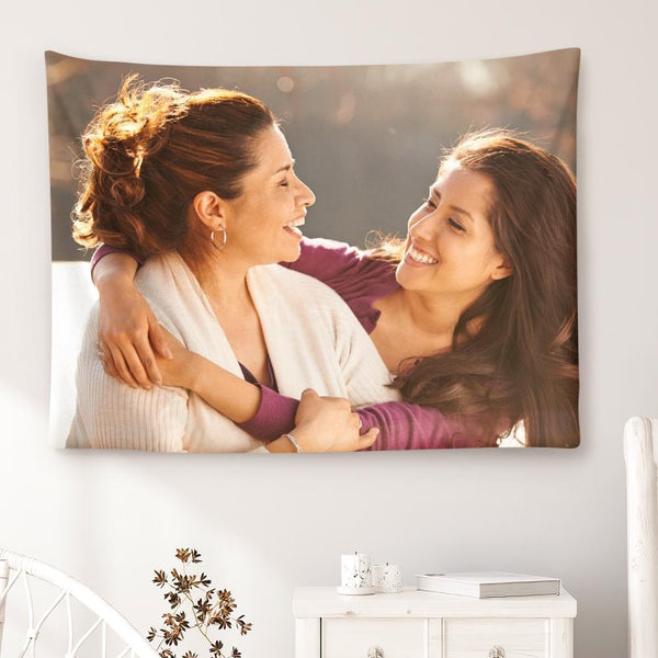 Gift for Mom Custom Photo Tapestry Short Plush Wall Decor Hanging Painting