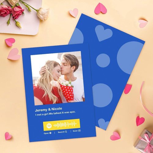 Personalized Photo Spotify Message Card Custom Spotify Gift Card  Romantic Card For Anniversary