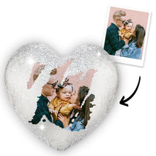 Custom Sweet Love Photo Magic Heart Sequin Cushion Pillow