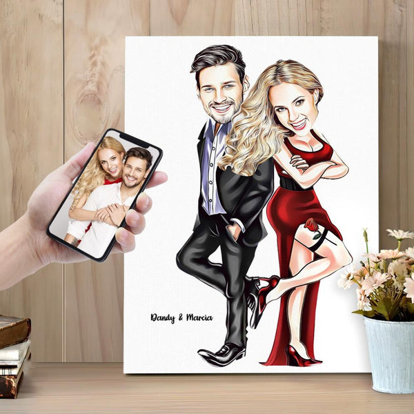 Custom Portrait Caricature Couple Photo Painting Canvas Custom Text Wall Art Canvas Print