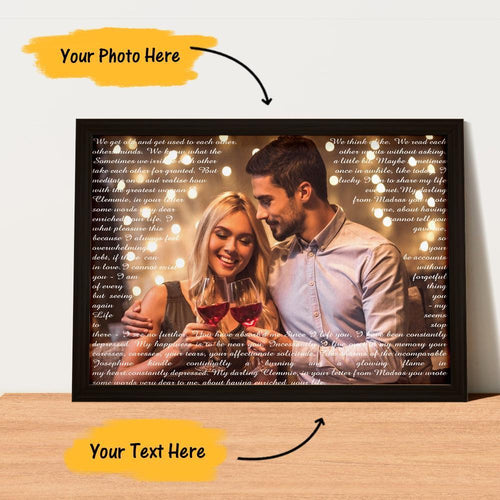 Custom Couple Photo Painting Canvas Wall Decor With Personalized Text
