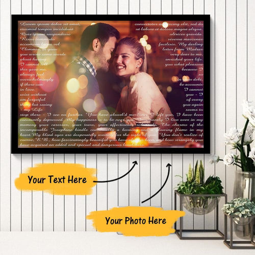 Personalized Couple Photo Painting Canvas With Unlimited Text
