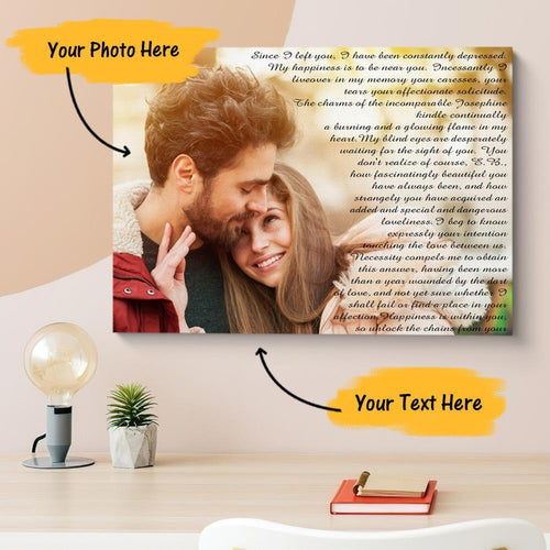 Personalized Couple Photo Painting Canvas Wall Decor With Text