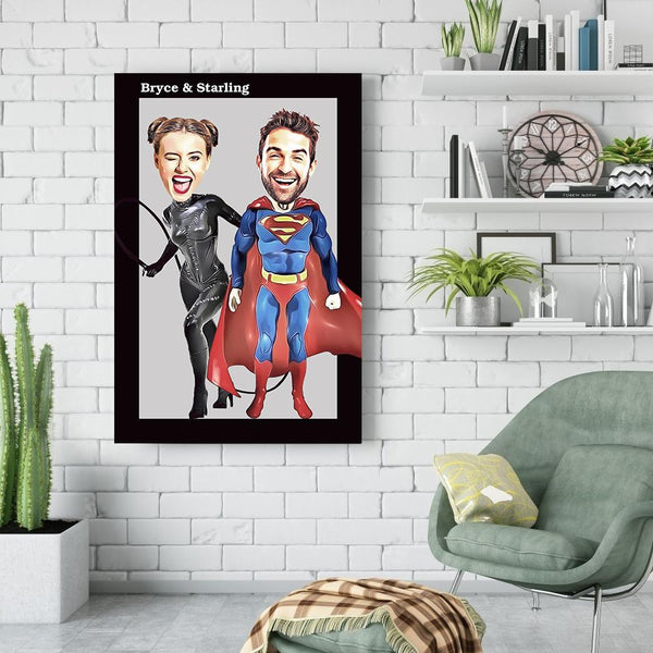 Personalized Couple Photo Super Hero Canvas Print Wall Art Decor with Custom Name