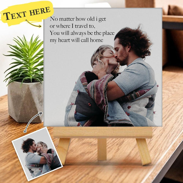 Custom Photo & Text Gallery Tabletop Canvas Print Gift for Family