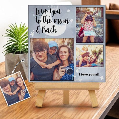 Custom Photo Gallery Tabletop Canvas Print Love You to The Moon & Back Gift for Family