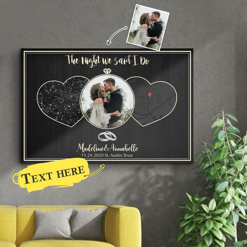 Custom Night Sky And Map 3 In 1 Personalized Photo And Text Black Background Canvas