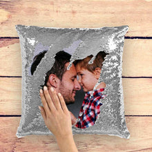 Custom Photo Magic Sequins Pillow Silver Color Sequin Cushion 15.75inch*15.75inch