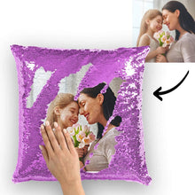 Custom Family Photo Magic Sequins Pillow Multicolor Sequin Cushion 15.75inch*15.75in