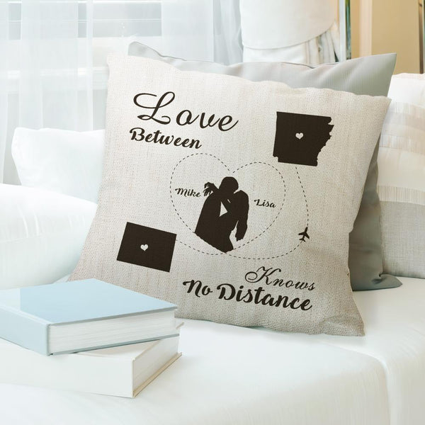 The Love Between Couple Knows No Distance Pillow Personalized Romantic Gift State Pillow Gift for Her
