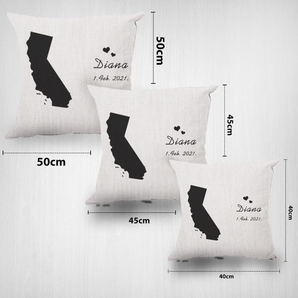 Custom State Map Pillow Personalized Gift with State & Name Gift for Family