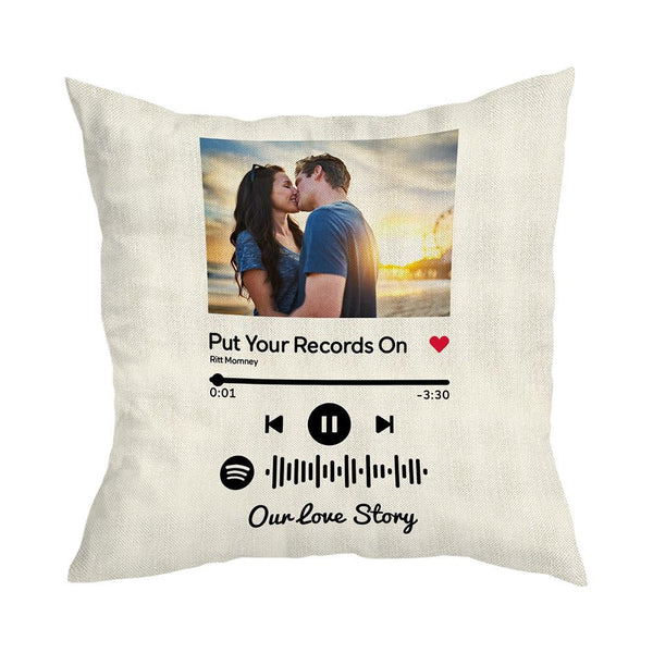 Scannable Custom Spotify Code Custom Photo Pillow Case White Romantic Gifts
