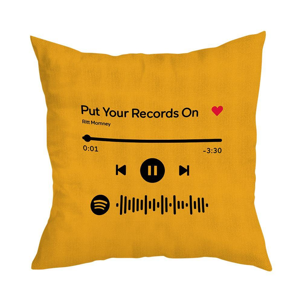 Custom Scannable Spotify Code Custom Music Pillow Case Orange  Couple Gifts
