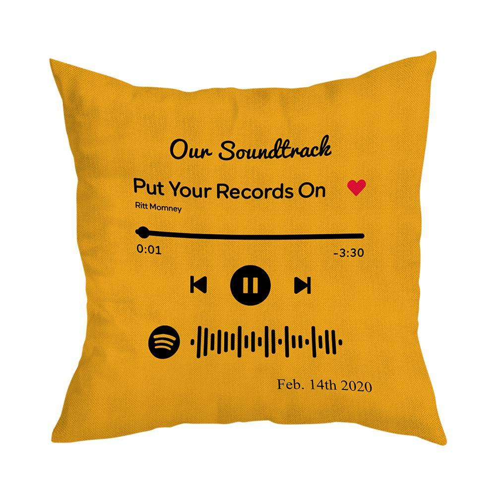 Scannable Custom Spotify Code Custom Music Pillow Case Orange Romantic Gifts
