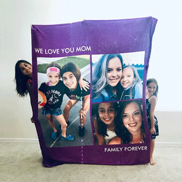 Anniversary Gift Personalized Family Fleece Photo Blanket with 5 Photos Festival Gift