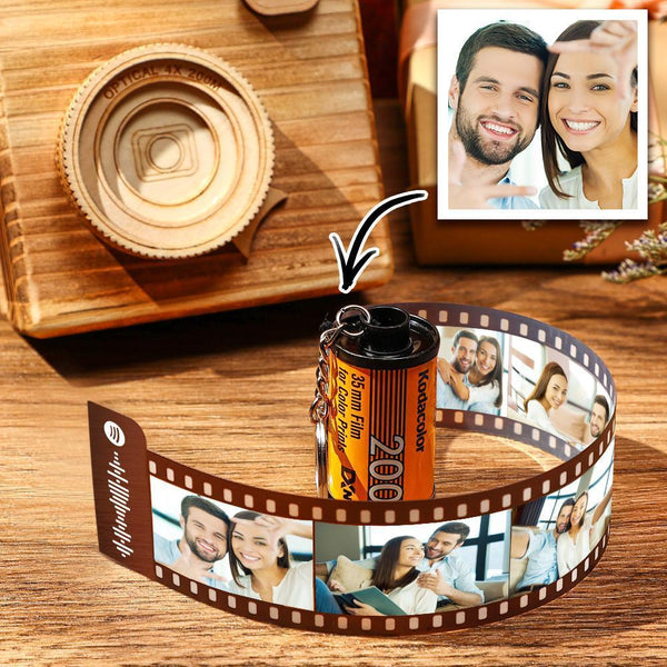 Spotify Code Scannable Custom Camera Roll Keychain 5-20 Pictures Yellow Shell Gift for Her