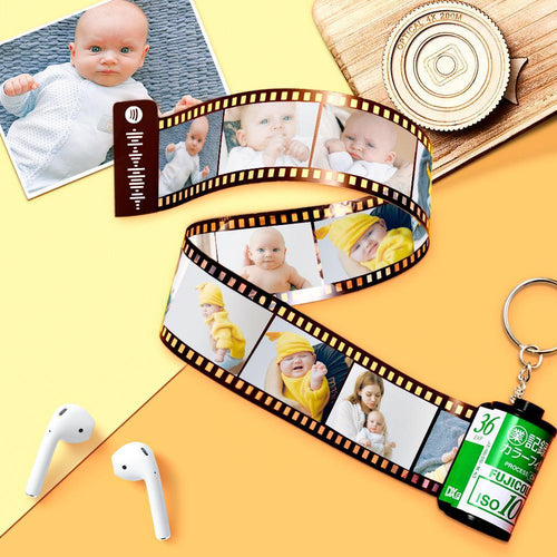Spotify Code Scannable Custom Camera Roll Keychain 5-20 Pictures Green Shell Baby Photo Album