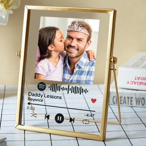 Father's Day Gift Personalised Spotify Code Music Plaque Acrylic Glass Art Plaque with Golden Frame